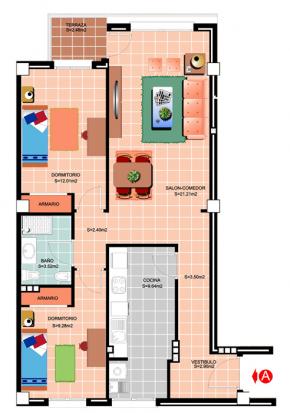 Plano <p>Apartamento Tipo A-H</p> <h3><strong>AGOTADO PARA EL CURSO 2017-18.</strong></h3>